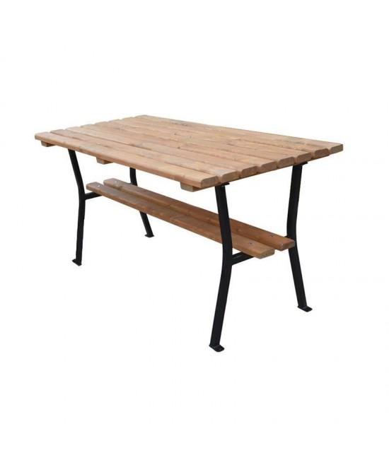 Stôl záhradný drevo a oceľ 150 cm