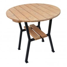 Stôl záhradný okrúhly 80 cm drevo a oceľ