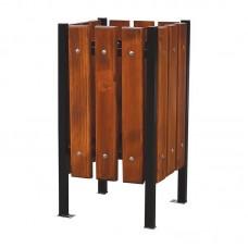 Vonkajší odpadkový kôš štvorcový drevo a oceľ